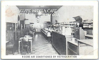 Perry Oklahoma Postcard Elite Hotel CafÉ Restaurant Interior View C1950s