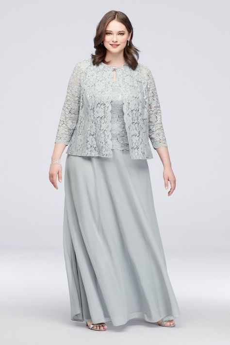 Three-Piece Plus Size Skirt and Lace Cardigan Set Style Sage - Plus Size Skirts - Ideas of Plus Size Skirts