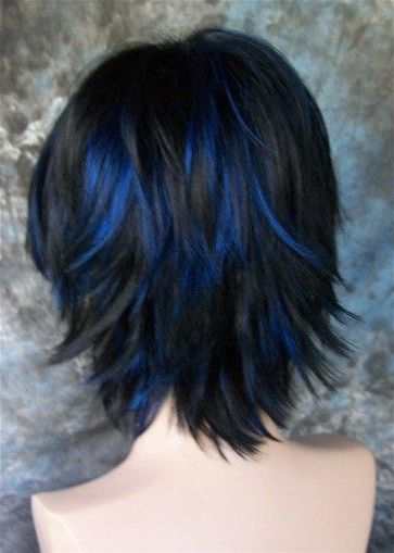 50 Short Black Hairstyles Ideas In 2019 Blue Hair Highlights Black Hair With Blue Highlights Hair Color Blue