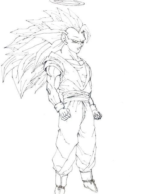Coloriage Sangoku Super Sayen 5 Coloriagedragon Sketches Art