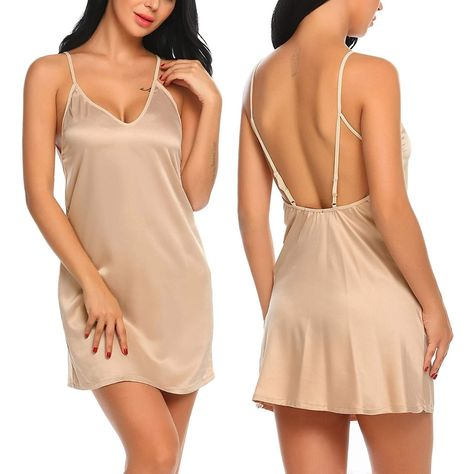 21e450a66c31 Women Lingerie Lace Nightgown Sexy Mini Sleepwear Satin Babydoll ...