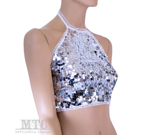 All Sizes Color Shifting Iridescent White Silver Sequin Rave Festival Halter Top MTCoffinz
