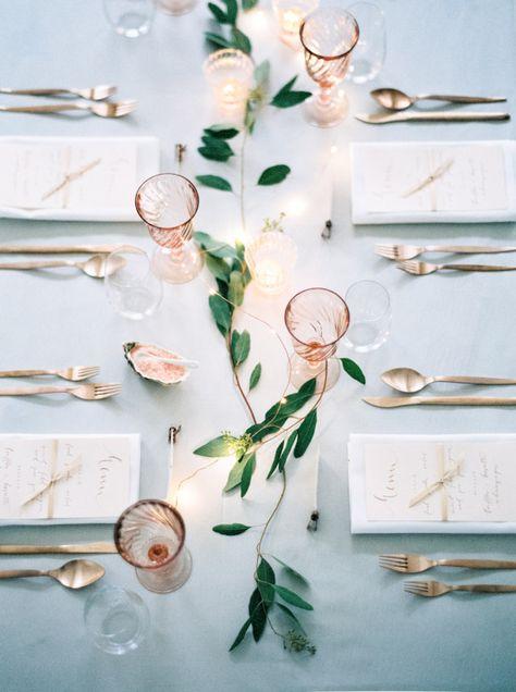 pretty table // love the rose glassware