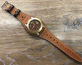 Handmade Leather Watch Band Full Bund Strap Leather Cuff Watch