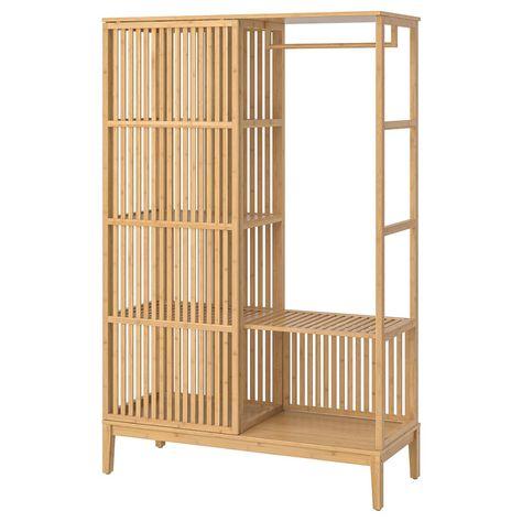 Armadio A Due Ante Scorrevoli Ikea.Nordkisa Guardaroba A Giorno Ante Scorrevoli Bambu 120x186 Cm