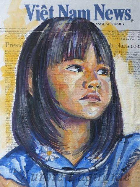 Sourires Lointains Retrouvailles Portrait D Une Enfant Du Vietnam Les Arts Afrique Art Portrait Dessin