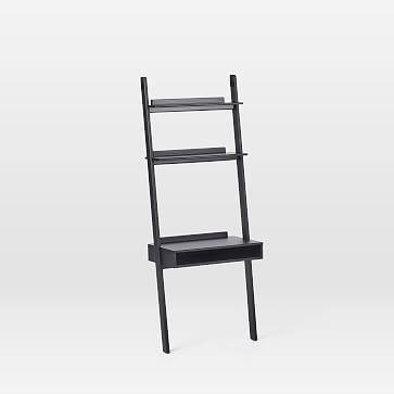 Modern Leaning Wall Desk In 2020 Wall Desk Ladder Shelf Desk Ladder Shelf Decor