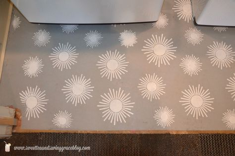 Stencil concrete and your laundry room with Royal Design Studio stencils! Kaleidoscope Stars Stencils on concrete floor