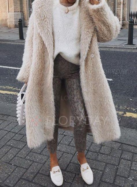 Coats - $45.99 - Long Sleeve Lapel Buttons Fur Coats (1715437787)