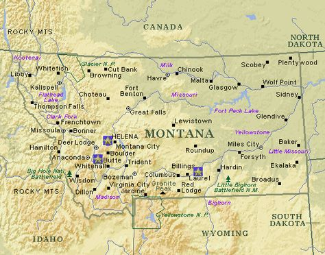 Nice MONTANA MAP WITH CITIES AND TOWNS Tours Maps Pinterest - City map of montana