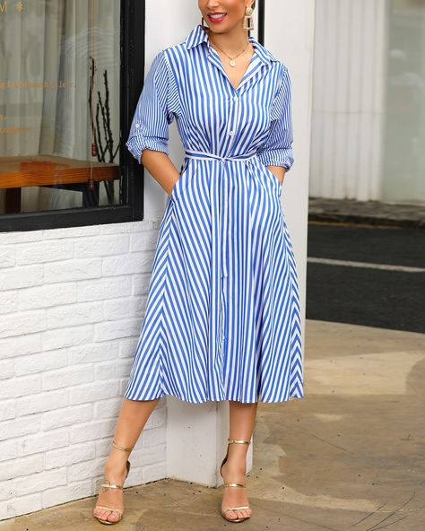Shop Stripes Long Sleeve Tie Waist Shirt Dress right now, get great deals at pickmyboutique