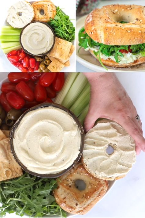 Super quick & easy to make Vegan Cream Cheese. It's creamy, rich, tangy and delicious. Just perfect for spreading, snacking and dipping!(with nut-free & oil-free options)