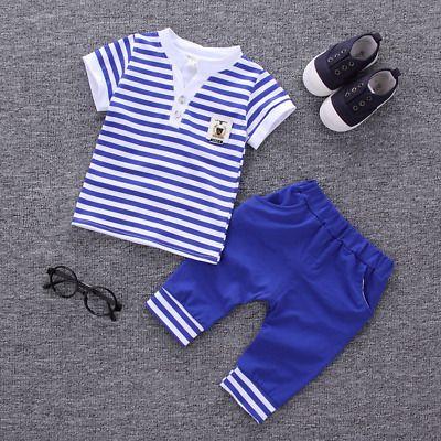 Baby Boy Summer Sailor Anchor Set T-Shirt Top Shorts Outfit 6 12m 2 3 4 years