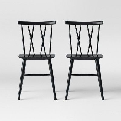 Set Of 2 Becket Metal X Back Dining Chair Black Project 62