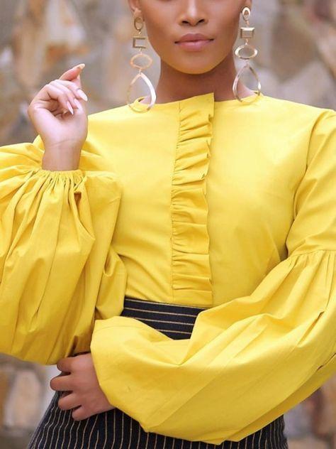 Ruffles Plain Round Neck Peplum African Fashion Women's Blouse -m.tbdress.com