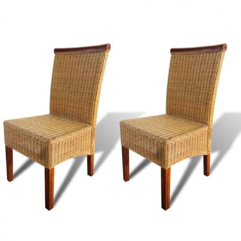 Woven Dining Room Chairs Pair Wicker