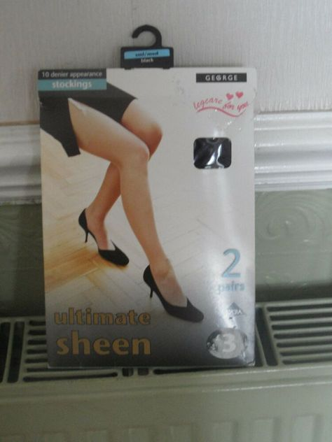 Large Size Black 10 Denier Satin Sheen Sheer Lace Top Hold Ups High Quality