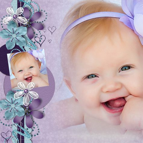 The colours in this layout are amazing.  I especially love the blended picture complemented by the fantastic layered floral border.  Not to mention the adorable baby.  What's not to love?