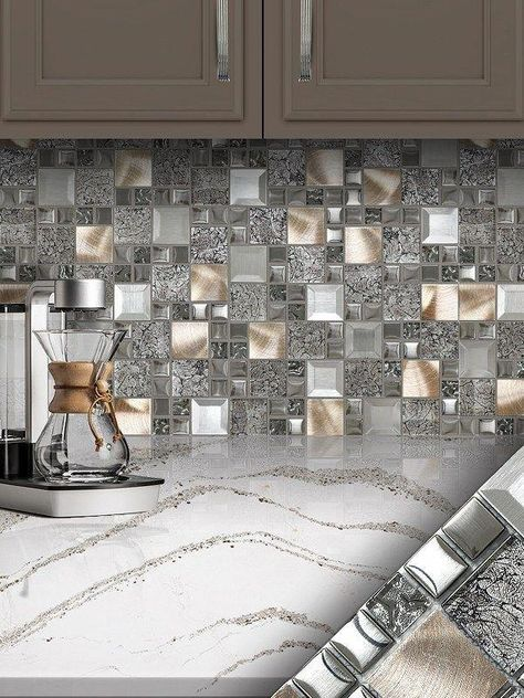 Glass Metal Gray Copper Mosaic Backsplash Tile Backsplash Com In