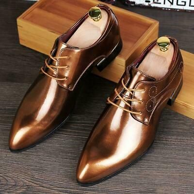 Men Patent Leather Slip On Dress Formal Business Shoes Oxford Brogue Carved Size