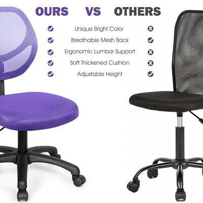 Details About Mesh Office Chair Low Back Armless Computer Desk Chair Adjustable Home Purple With Images Mesh Office Chair Computer Desk Chair
