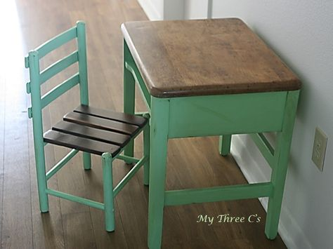 Antique Student Desk and Chair Refurbished by My Three C's.  Lime Sorebet and Golden Pine Stain. www.facebook.com/mythreecs