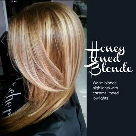 Honey toned blonde: warm blonde highlights with caramel toned lowlights - #blonde #caramel #highlights #honey #toned