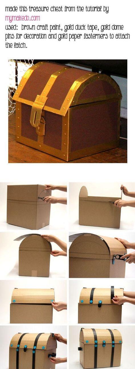 "How To Decorate A Treasure Box Diy Cardboard Pirate Treasure Chest  Perfect To Use For ""treasure"