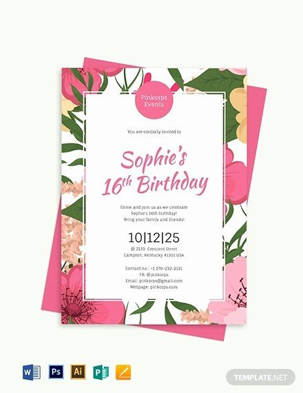 Microsoft Word Birthday Invitation Template Fresh Beautiful Party In In 2020 Party Invite Template Birthday Invitation Card Template Free Birthday Invitation Templates