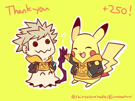 Thank you for +250 followers! I was so surprised many people liked my Spark comics! Have Spark Pikachu and Spark Mimikyu hi five their accomplishment of making Spark smiled to the point of fainting! Don't worry Go is currently smac- I mean taking...