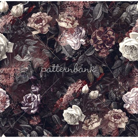 View Floral Design by Burcu Korkmazyürek. Available in Seamless Repeat Royalty-Free. dark floral 34 cm x 34 cm 300 dpi repeat pattern
