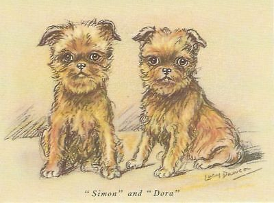 6 Brussels Griffon Bruxellois Dog Blank Art Note Greeting Cards