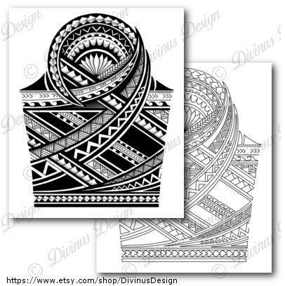 Instant Digital Download Half Sleeve Polynesian Tattoo With Stencil Template 02 Dig Polynesian Tattoo Sleeve Polynesian Tattoo Designs Half Sleeve Tattoo