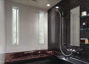縦スリット 縦すべり出し窓 を2箇所に設置すれば ウィンドキャッチの効果で換気効率が高く 防犯にも考慮した快適な浴室
