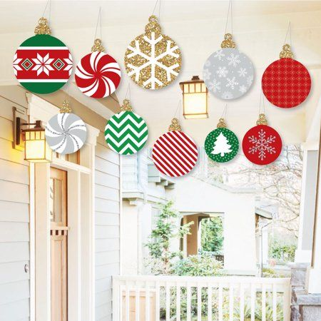 Hanging Ornaments Outdoor Holiday And Christmas Hanging Porch Tree Yard Decorations 10 Pieces Walmart Com In 2020 Christmas Window Decorations Christmas Yard Decorations Christmas Ceiling Decorations