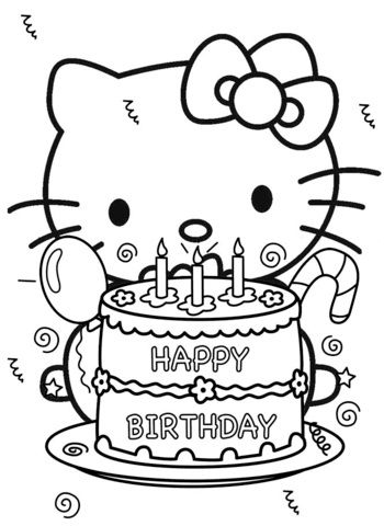Hello Kitty Coloring Pages Birthday Cake Hello Kitty Coloring Hello Kitty Colouring Pages Hello Kitty Printables