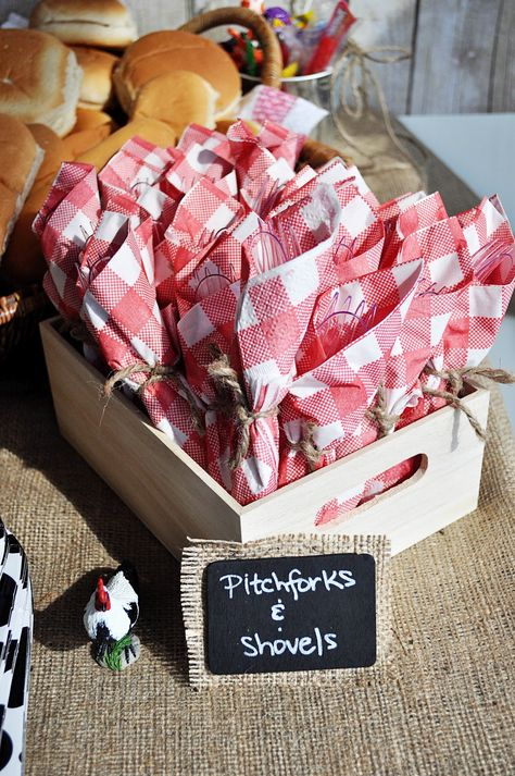 cute burlap for decorating in barn yard party