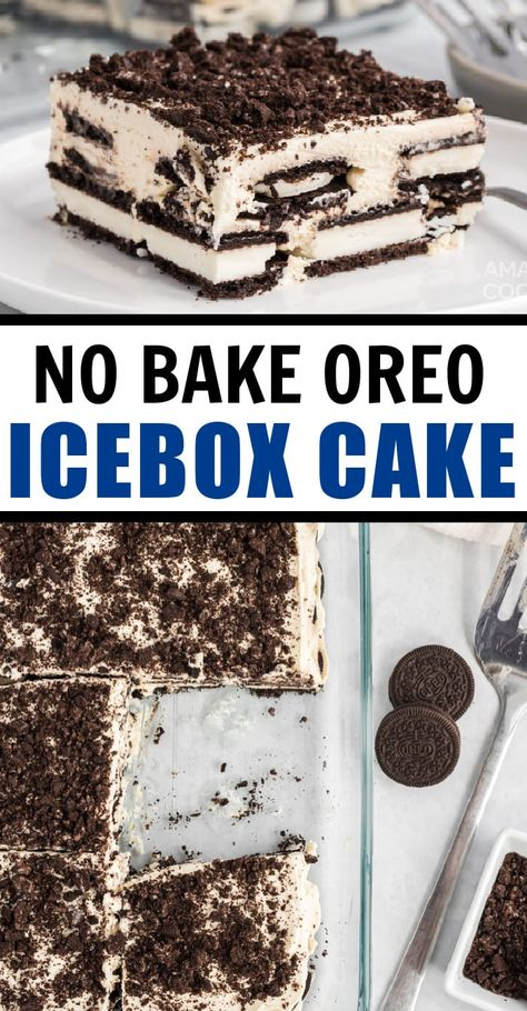 This easy summer dessert recipe is made with only four simple ingredients – chocolate Oreo cookies and homemade, sweetened whipped cream! Cookies and cream never tasted so good. #oreo #iceboxcake #nobake #nobakedessert #oreodessert #cookiesandcream #dessert #onepandessert #amandascookin