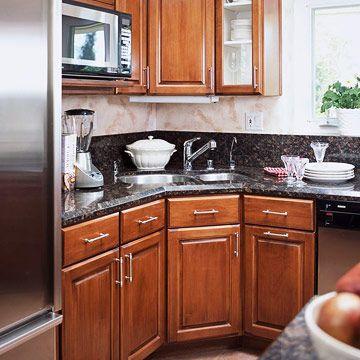 Corner Kitchen Sink Ideas   Corner sink, Task lighting and Sinks