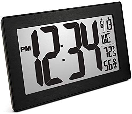 Marathon Cl030068bk Bs Slim Panoramic Atomic Full Calendar Wall Clock With 8 Time Zones Indoor Temperature And Table Sta Office Wall Clock Clock Digital Wall