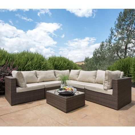 Groovy Corvus Tierney Outdoor 6 Piece Wicker Sectional Sofa Set Squirreltailoven Fun Painted Chair Ideas Images Squirreltailovenorg