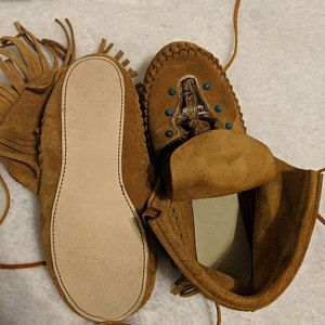 Inspired by a fusion of Native American and western cultures these handcrafted moccasins are made completely of leather