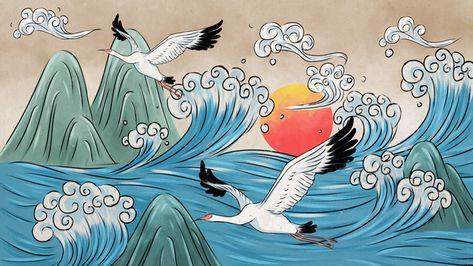 chinese style,watercolor,xiangyun,crane,white crane,mountain,sea,sunset,wave,retro,wallpaper,background