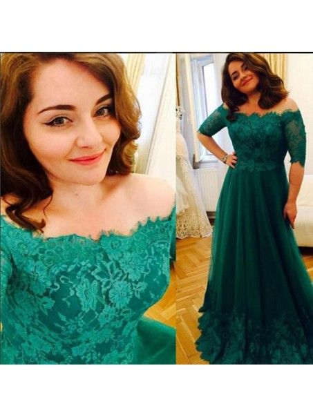 Long Green Lace Off-the-Shoulder Prom Dresses Party Evening Gowns 99602438