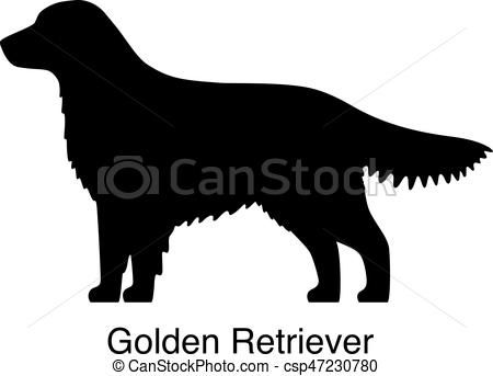 Golden Retriever Dog Silhouette Side View Vector Vector