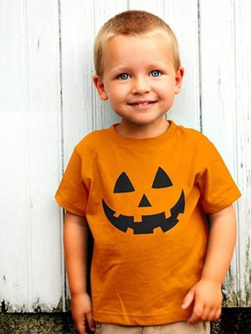 Jack O/' Lantern Pumpkin Face Halloween Costume Orange Boy Girl Kids T-Shirt 3T