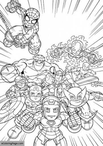 Marvel Superheroes Avengers Coloring Page For Kids Printable With