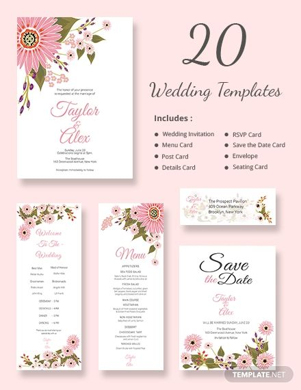 Floral Wedding Templates Includes 20 Designs Word Doc Psd Indesign Apple Mac Pages Publisher Free Wedding Invitation Templates Free Wedding Invitations Wedding Invitations Rsvp Cards