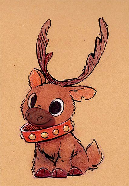 Christmas Drawings Sketchbook Daily 82 # - Reindeer D . - christmas drawings Sketchbook Daily 82 # – Reindeer Daily Paintings Book No - Disney Kunst, Disney Art, Christmas Drawing, Xmas Drawing, Christmas Sketch, Christmas Paintings, Painted Books, Hand Painted, Cute Animal Drawings