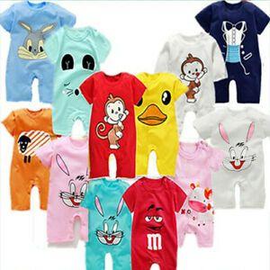 Newborn Infant Baby Boy Girl Kids Jumpsuit T-shirt Pants Cotton Clothes Outfit